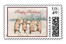 Winter Holiday Cards and Stamps