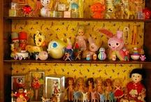 Vintage squeaky dolls & toys