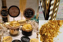 Gold Foil New Years Party Printables / Gold Party Printables featuring gold paper party straws, party favor bags, mini gold dessert plates, gold edible glitter, mustache photo props, cupcake toppers, bottle favor tags
