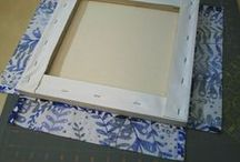 Mounting quilt blocks on canvas