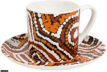 Aboriginal design Espresso Set / Espresso Set - Fine Bone China giftboxed with artist details Price:  $28.00 each or any 3 for $75.00