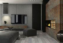"""Minimalistyczne mieszkanie pełne struktur / Połączenei surowego betonu z bielonym drewnem i blachą to coś co proponujemy dla wszystkich miłośników minimalistycznego i surowego stylu. Kolor czarny jako akcent nadaje wnętrzu dodatkowego """"pazura"""".    Więcej o nas znajdziesz na www.monostudio.pl oraz facebook Projektowanie WNĘTRZ pod klucz MONOstudio.pl"""