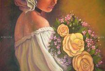 Oleo.mujeres y flores