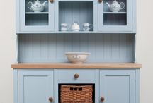 The Malthouse Kitchen Dresser / The Malthouse kitchen dresser provides a good mix of storage space behind cupboards, within a drawer and inside the two baskets, as well as some open shelving. The baskets are made from Almond Willow and hand woven in Yorkshire.