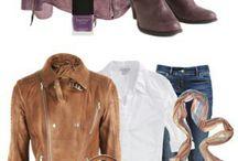 Roupas com jaqueta de couro