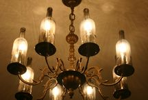 Chandelier project / Vintage chandelier with wine bottle shades
