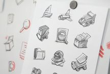 Project B_Desing Media / Icon Concepts,  Sketches and elements for the set.  (IFAKs) Individual First Aid Kit.