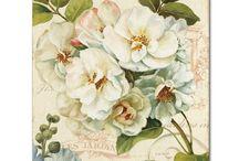 Vintage flowers in watercolor