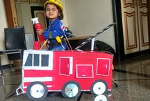 Fire engine project / I have made fire engine from the cardboard of new washing machine which we bought recently. check it out.The tires were reaching the floor so later I shortened the thread .The whole engine was painted by my 3 year old daughter.