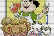 Křížková výšivka kuchyně - kuchaři