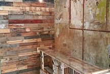 Recycled Wood & Metal / Handrcraftet pallet and industrial trash furniture and interieurs