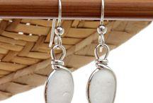 White Sea Glass Jewelry