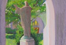"""Art - My Paintings, Monastery of the Holy Spirit / I was an invited artist in a plein air paint out at the Monastery of the Holy Spirit in Conyers GA. The event finished with a """"Wet Paint Sale"""". I painted for 4 1/2 days and produced 18 plein air paintings in oil or pastel."""