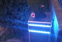 kerti ledlámpa / two in one  garden lamp + flower tile home-made