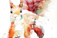 water colour animals