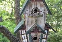 birdhouses and birdfeeders