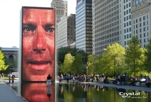 """Crown Fountain - Chicago / Millennium Park is an artistic and architectural extravaganza just off the famed """"Magnficent Mile"""" in Chicago. A collection of world-class artists, architects, planners, landscape artists and designers contributed to this unprecedented architectural showcase. Crystal Fountains worked with the artist Jaume Plensa and full design team on the """"Crown Fountain"""" taking interactive art, technology and water-shaping to new levels. / by Crystal Fountains"""