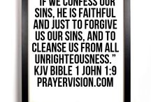 """1 John 1:9 KJV Bible Verse Graphics / You can use these to post on your social media feeds, such as Facebook, Twitter, Google+. """"If we confess our sins, he is faithful and just to forgive us our sins, and to cleanse us from all unrighteousness."""" 1 John 1:9 KJV HOLY BIBLE"""