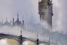 ponte  sul tamigincon il Big ben nella nebbia TOMAS SHALLER