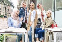 Gathering hijabi girls