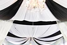 BLACK AND WHITE CEILING DRAPES