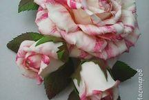 Цветы из фоамирана и шелка