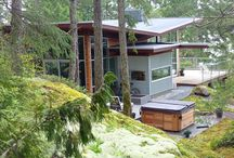 Pointhouse Aerie / #WestCoast #contemporary designed #vacation#rental on a stunning waterfront estate on the #SunshineCoastBC. Architectural simplicity and walls of glass immerse you in the #rainforest as well as frame #ocean views.