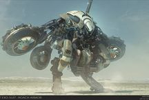 Robots and Vehicles / Some ridiculous robot and vehicle concept art.