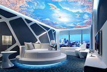 Plafond tendu moderne personalisé avec impression numérique et rétro-éclairé / idées de design exceptionnels