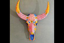 Buffalo / Tête de buffle résine peint mains