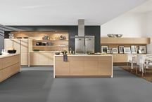 AlnoNatureline / Bringing the warmth of the outdoors in, Alno created this kitchen called Natureline: solid wood veneer with horizontal grain create a feeling of earthiness.