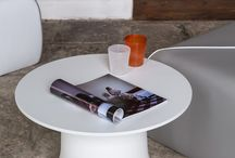 SPLASH T / SPLASH #table #design by Kristian Aus, 2016. A #coffee table featuring a rotomoulded polyethylene base shaped like a raindrop landing on the ground upside down. The 60 cm diameter compact grade laminated top makes a generously sized table that is suitable for both indoor and outdoor use.