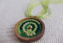 Beading in wooden tray / Beadwork, beads in wooden tray, beading jewelry findings, beading trays, beads