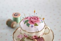 tea cup pin cushions / by Janet November