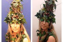 Fantasy Make-up / Woodland nymph with real ivy, bark, moss and handmade eyelashes