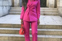 pink suit with white sneakers
