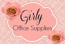 """Girly Office Supplies / Girly Office Supplies - I LOVE pretty office supplies, but they aren't always easy to find. My office spaces (home office as well as traditional office) is always lacking in """"girly.""""   Why is that? Do men somehow own the world of office supplies? :-)  www.Momcaster.com / by Sher Bailey"""