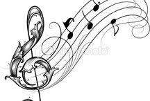 картинки ноты музыканты инструменты