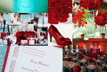 Casamento vermelho e turquesa