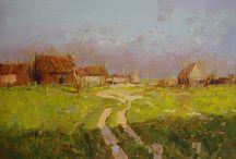 Village oil painting