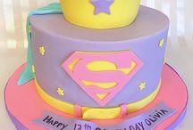 Girls Superhero birthday cake and cupcakes