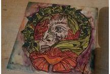 Murales / Murales realizados con baldozas de 15x15 cm  Decorados con pigmentos bajo cubierta