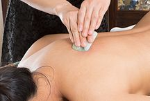 Scraping | Gua Sha / Gua sha is a healing technique of traditional East Asian medicine. Sometimes called 'coining, spooning or scraping', Gua sha is defined as instrument-assisted unidirectional press-stroking of a lubricated area of the body surface to intentionally create transitory therapeutic petechiae called 'sha' representing extravasation of blood in the subcutis.