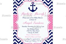 Nautical Anchor Pink and Navy Baby Shower / This collection features a navy blue anchor with a heart. The background consists of navy blue chevrons and a pink polka dot ribbon.