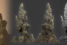Game Art - Rocks and Terrains / Rocks, cliffs, hillsides and other terrain shapes