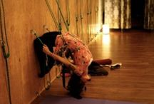 Belts on the wall yoga