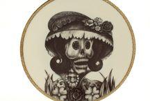 sugar skulls / sugar skull decorative plates, cups and tea / coffee / espresso sets