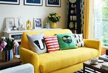 yellow sofa /curtain /rug