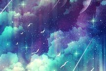 Cielo luna y estrellas