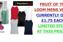 FRUIT OF THE LOOM MENS VESTS / FRUIT OF THE LOOM MENS VESTS: CURRENTLY ONLY £1.75 EACH! LIMITED STOCK AT THIS PRICE!!! http://www.premiumbuys.co.uk/1MensFruitOfTheLoomVestSizesS-Xxl5Colours.aspx